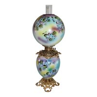 """Outstanding Hand Painted Gone with the Wind Oil Lamp with Purple and Blue Violets ~ 10"""" Shade ~ Outstanding Fancy Ornate Font Spill Ring and Base ~ALL Original Parts"""