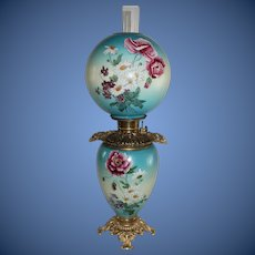 """Outstanding Hand Painted Gone with the Wind Oil Lamp with Poppies and Daises ~ 10"""" Shade ~ Outstanding Fancy HANDLED Ornate Font Spill Ring and Base"""