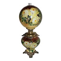 """LARGE HAND PAINTED Gone with the Wind Oil Lamp ~RARE 12"""" SHADE~Masterpiece Breathtaking BEAUTY WITH ROSES~ Outstanding Fancy Ornate Font Spill Ring and Base~ Original Condition"""