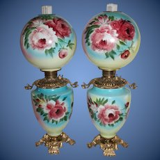 WOW!!  Outstanding PAIR of LARGE Hand Painted Gone with the Wind Oil Lamps ~ Outstanding Fancy Ornate MATCHING Font Spill Rings and Bases~ Original Condition ~Original Parts