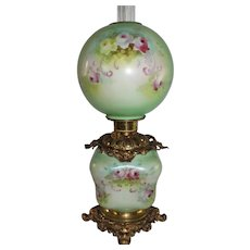 "RARE HAND PAINTED Gone with the Wind Oil Lamp ~RARE Blown Out ""Puffy Square"" Base ~Masterpiece Breathtaking BEAUTY WITH ROSES"