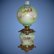 """RARE HAND PAINTED Gone with the Wind Oil Lamp ~RARE Blown Out """"Puffy Square"""" Base ~Masterpiece Breathtaking BEAUTY WITH ROSES"""