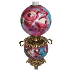 Outstanding LARGE  Gone with the Wind Oil Lamp with ROSES' ~ Outstanding VERY Fancy Handled Ornate Font Spill Ring and Base