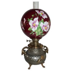 WOW! ULTRA RARE Aesthetic Figural Rams Center Draft Banquet Lamp ~ Wonderful Hand Painted Period Shade ~ 1890's ~Electrified