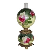 HAND PAINTED Gone with the Wind Oil Lamp ~Masterpiece Breathtaking BEAUTY WITH ROSES
