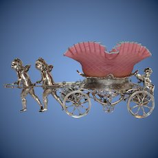WOW!! Museum Quality ~ Wonderful RARE Antique  Cherubs Pulling Cart Figural  Victorian Brides Basket Model #186 Made by Rogers Brothers ~RARE Hand Blown Quilted Webb Peachblow Bowl ~ C. 1880's