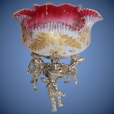 WOW!! Museum Quality ~ Wonderful Wilcox #2684 Brides Basket with RARE Hand Blown Webb Enameled Bowl ~ C. 1880's