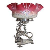 WOW!! Fancy 1880's Meriden #1535 Figural Cherub Riding a Dolphin Brides Basket ~Ruffled Melon Ribbed Art Glass Enameled Bowl