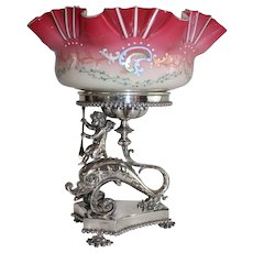 WOW!! Fancy 1880's Meriden #1535 Figural Cherub Riding a Dolphin Brides Basket ~Ruffled Melon Ribbed Art Glass Enameled Bowl