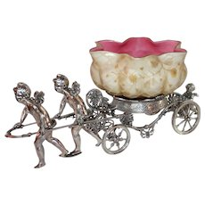 WOW!! Museum Quality ~ Wonderful RARE Antique Cherubs Pulling Cart Figural Victorian Brides Basket Model #188 Made by Rogers Brothers ~RARE Hand Blown Quilted Mother of Pearl Cased Bowl ~ C. 1880's