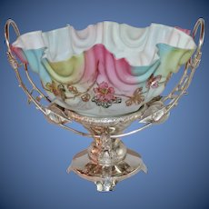 WOW!! Museum Quality ~Wonderful RARE Antique Victorian Figural Horse and Apple Victorian Brides Basket ~ RARE Rainbow Art Glass Hand Enameled Bowl ~ C. 1890's