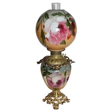 "Outstanding Hand Painted Gone with the Wind Oil Lamp with ROSES ~ 10"" Shade ~ Outstanding Fancy Ornate Font Spill Ring and Base ~ALL Original Parts"
