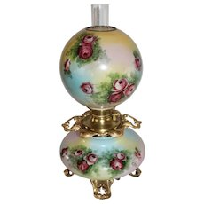 Outstanding LARGE Gone with the Wind Oil Lamp with ROSES' ~ Outstanding VERY Fancy Ornate Matching Handled Font Spill Ring and Base ~ALL Original Parts