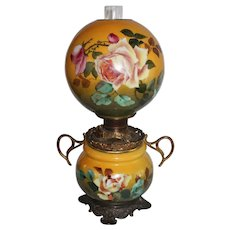 """Outstanding Hand Painted Gone with the Wind Oil Lamp with ROSES ~ 10"""" Shade ~ Outstanding Fancy Ornate Handled Font Spill Ring and Base ~ALL Original Parts"""