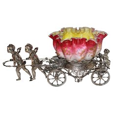 WOW!! Museum Quality ~ Wonderful RARE Antique Cherubs Pulling Cart Figural Victorian Brides Basket Model #186 Made by Rogers Brothers ~RARE Hand Blown  Webb Enameled Bowl ~ C. 1880's