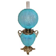 Museum Quality ~Pittsburgh Blue Satin Art Glass Chamber/Parlor Gone with the Wind Oil Lamp ~ Outstanding Fancy Ornate HANDLED Font Spill Ring ~ Original Condition ~Original Parts