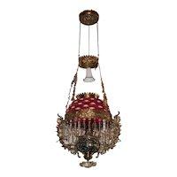 WOW! Outstanding Victorian Bradley Hubbard  Hanging Library Kerosene Oil Lamp ~ ULTRA RARE Cranberry Opalescent Bullseye Shade, Cranberry Chimney