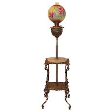 RARE Antique Victorian Aesthetic BRASS Very ORNATE Bradley Hubbard Piano/Organ Floor Lamp with CHERUBS~ 1880's~ Outstanding Original Hand Painted Shade with ROSES~ All Original ~ Still Oil Burning