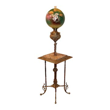 "RARE Antique Victorian Aesthetic BRASS ORNATE Piano/Organ Floor Lamp S~ 1880's~ Outstanding Original Hand Painted 13"" Floral Shade ~ Electrified"