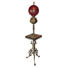 WOW! VERY RARE Antique Victorian Aesthetic BRASS ORNATE GRIFFIN Piano/Organ Floor Lamp S~ 1880's~ Outstanding Original RARE Cranberry Glass Griffin Shade ~ Electrified.