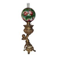 Large Figural Cherub Banquet Oil Lamp ~ Original Hand Painted Shade with Roses ~ Original Condition