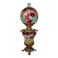 Outstanding LARGE Gone with the Wind Oil Lamp with ROSES' ~ Outstanding VERY Fancy Ornate Font Spill Ring and Base ~ALL Original Parts
