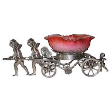 WOW!! Museum Quality ~ Wonderful RARE Antique Cherubs Pulling Cart Figural Victorian Brides Basket Model #188 Made by Rogers Brothers ~VERY RARE Hand Blown Pink Satin Moire Mother of Pearl Square Ruffled Art Glass Bowl ~ C. 1880's