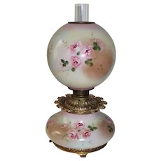 Outstanding LARGE Hand Painted Gone with the Wind Oil Lamp with ROSES' ~ Outstanding VERY Fancy Ornate Font Spill Ring and Base ~ALL Original Parts