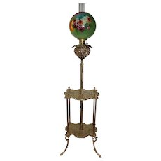 """WOW! Antique Victorian Double Shelf Brass Piano Floor Lamp ~ Rare Period 11"""" HAND PAINTED ROSES Shade ~ All Original Parts"""
