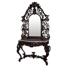 Antique 1860's Rococo Rosewood Victorian Marble Top Mirrored Etagere ~ attributed to Mitchell & Rammelsberg Furniture Co., Cincinnati, Ohio ~ Magnificent Piece of Fine Antique Furniture LAYAWAY IS AVAILABLE ON THIS OUTSTANDING Etagere ~ We will offer