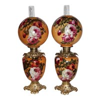 WOW!! Outstanding PAIR of LARGE Hand Painted Gone with the Wind Oil Lamps ~ Outstanding Fancy Ornate Font Spill Rings and Bases~ Original Condition ~Original Parts