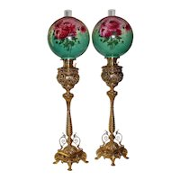 """VERY RARE Pair of 40"""" tall Bradley Hubbard Aesthetic Victorian Renaissance Revival Banquet Lamps ~ Period Hand Painted Shades ~ 1890's ~ Still Oil Burning"""