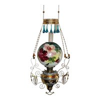 WOW! Outstanding Victorian Bradley Hubbard Hanging Gone with the Wind Banquet Kerosene Oil Lamp ~ Wonderful Old Hand Painted Shade with Hand Blown Tear Drop Prisms ~ 1890's