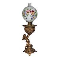 Wonderful Figural Cherub Banquet Oil Lamp ~ Wonderful Hand Painted Pansy Shade ~ Original Condition