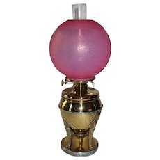 OUTSTANDING B&H Brass Banquet Oil Lamp  ~ Outstanding RARE Etched VICTORIAN Aesthetic Designed Pink Peach Blow Opalescent Shade ~ Electrified