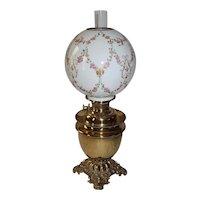 OUTSTANDING B&H Brass Banquet Oil Lamp ~ Outstanding RARE Hand Painted VICTORIAN Fleur-de-lis and Flowers Shade ~ All Original