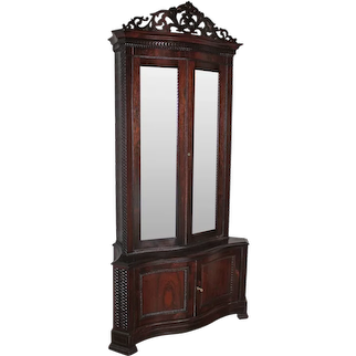 VERY RARE MEEKS American Rococo Rosewood Collector's Cabinet/ Bookcase