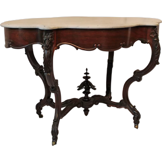 WOW!! OUTSTANDING 1850's HAND CARVED Rococo Rosewood Marble Top Victorian  Table ~ RARE SIZE & SHAPE ~ Ornately Carved ~ Magnificent Piece of Fine Antique Furniture