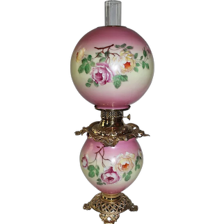 Outstanding Antique HAND PAINTED Gone with the Wind Oil Lamp with Roses ~ Outstanding VERY Fancy Ornate Font Spill Ring and Base ~ALL Original Parts
