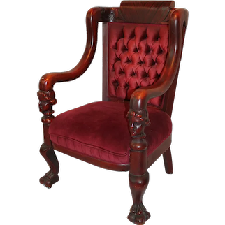 Outstanding Antique Carved Faces  Mahogany Arm Chair ~ Attributed to Karpen