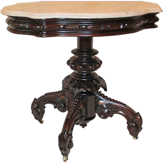Outstanding 1870's Antique American Renaissance Revival ROSEWOOD Marble Top Table ~ attrib. to Thomas Brooks ~ 1870's New York