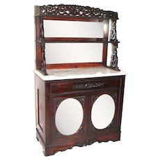 Antique 1860's Rococo Rosewood Victorian Marble Top Mirrored Cabinet Etagere ~ ca 1860 ~ Attributed to J & JW Meeks~ New York