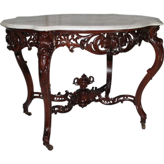 WOW!! OUTSTANDING 1850's HAND CARVED Rococo Rosewood Marble Top Victorian Center or Library Table ~ Attributed to J. & J. W. Meeks, New York