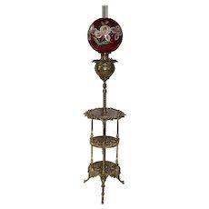 "WOW! Antique Victorian BRASS Cherub Piano Floor Lamp ~Original 12"" HAND PAINTED Shade ~ Original Oil Burning Condition"