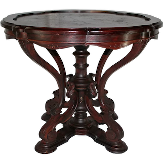 VERY RARE 1870's Antique American Renaissance Revival ROSEWOOD Marble Top Table ~ attrib. to Thomas Brooks ~ 1870's New York