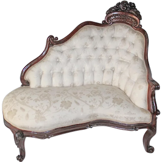WOW!! OUTSTANDING 1850's HAND CARVED Rococo Rosewood Belter Henry Clay Pattern Meridienne ~ Ornately Carved ~ Magnificent Piece of Fine Antique Furniture