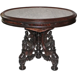 Outstanding 1870's Antique Renaissance Revival Walnut WHITE Marble Top Table with Four Carved Ladies~ Attributed to John Jelliff - 2of 2