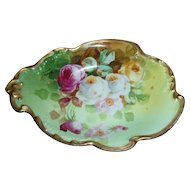 "Wonderful JPL DUVAL Limoges Hand Painted Dish with Roses Signed by the FAMOUS Artist ""Duval"""