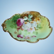 """Wonderful JPL DUVAL Limoges Hand Painted Dish with Roses Signed by the FAMOUS Artist """"Duval"""""""