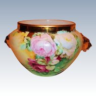 WOW! HUGE Gorgeous Hand Painted Lion Handled Jardiniere w/ ROSES